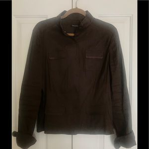 Brown Linen Tahari Blazer with snap Button front